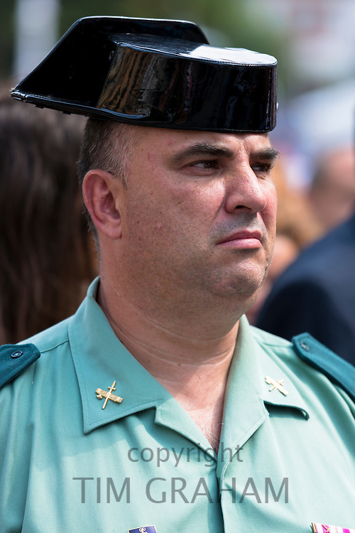 Spanish policeman - one of the Civil Guards - at Villaviciosa in Asturias, Northern Spain