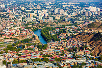 old downtown Tbilisi cityscape skyline view with kura river Georgia landmark Europe