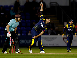 Glamorgan's Ruaidhri Smith bowls<br /> <br /> Photographer Simon King/Replay Images<br /> <br /> Vitality Blast T20 - Round 14 - Glamorgan v Surrey - Friday 17th August 2018 - Sophia Gardens - Cardiff<br /> <br /> World Copyright © Replay Images . All rights reserved. info@replayimages.co.uk - http://replayimages.co.uk