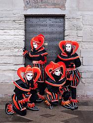 Masked women in Carnival or Carnevale in Venice Italy