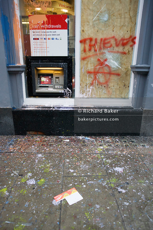 Vandalism by breakaway anarchists to HSBC bank property the morning after the TUC-organised anti-government march against cuts to Britain's economy.