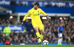 Liverpool goalkeeper Alisson Becker during the Premier League match at Goodison Park, Liverpool.
