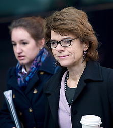 © London News Pictures. 05/03/2013 . London, UK.  Vicky Pryce (right) arriving at Southwark Crown Court on March 05, 2013 where she is currently standing trial for perverting the course of justice. Vicky Pryce admitted accepting penalty points incurred by her former husband and disgraced MP Chris Huhne in 2003. Photo credit : Ben Cawthra/LNP