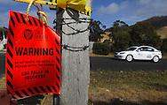 Warning sign .Day 1.Targa Wrest Point 2009.Southern Tasmania.31st of January 2009.(C) Joel Strickland Photographics.