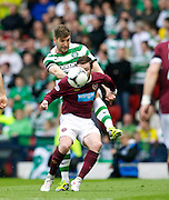 William Hill Scottish FA Cup Semi Final CELTIC FC v HEART OF MIDLOTHIAN FC Season 2011-12.15-04-12...HEART'S STEPHEN ELLIOTT  HOLDS OFF CELTIC'S  CHARLIE MULGREW during the William Hill Scottish FA Cup Semi Final tie between CELTIC FC and HEART OF MIDLOTHIAN FC with the Winner facing   in this years Scottish Cup Final in May...At Hampden Park Stadium , Glasgow..Sunday 15th April 2012.Picture Mark Davison/ Prolens Photo Agency / PLPA