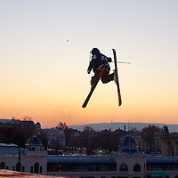 Lolo Favre from France performs his trick during the freestyle skiing competition held on the 35 meters high artificial ski jumping ramp on the Monster Energy Fridge Festival in central Budapest, Hungary on November 12, 2011. ATTILA VOLGYI