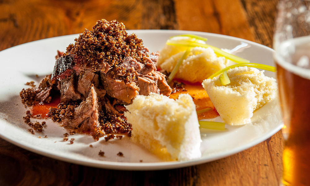 Coffee infused quinoa crunch encrusted beef clod.