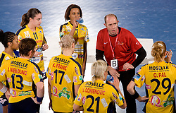 Coach of Metz Francois Bertrand with his players at handball match of Round 5 of Champions League between RK Krim Mercator and Metz Handball, France, on January 9, 2010 in Kodeljevo, Ljubljana, Slovenia. (Photo by Vid Ponikvar / Sportida)