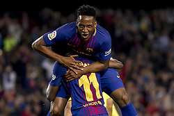 May 9, 2018 - Barcelona, Catalonia, Spain - Yerri Mina and Ousmane Dembélé during the spanish football league La Liga match between FC Barcelona and Villarreal at the Camp Nou Stadium in Barcelona, Catalonia, Spain on May 9, 2018  (Credit Image: © Miquel Llop/NurPhoto via ZUMA Press)