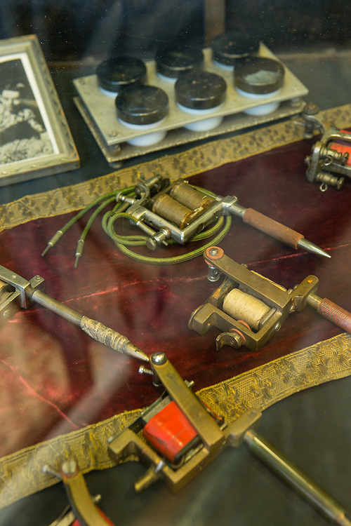 Early tattoo machines in the Daredevil Tattoo Museum.