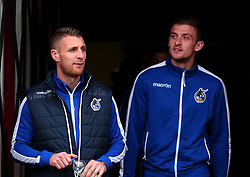 Lee Brown and Adam Smith of Bristol Rovers arrive at The Keepmoat Stadium for his side's fixture against Doncaster Rovers - Mandatory by-line: Robbie Stephenson/JMP - 27/01/2018 - FOOTBALL - The Keepmoat Stadium - Doncaster, England - Doncaster Rovers v Bristol Rovers - Sky Bet League One