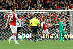 July 15, 2017 - Sydney, New South Wales, Australia - Arsenal player, Aaron Ramsey skillfully lobs the ball over Wanderers goal keeper Vedran Janjetovic to score a goal.FA Cup Champions Arsenal wins 3-1 over Western Sydney Wanderers FC at ANZ Stadium. (Credit Image: © United Images/Pacific Press via ZUMA Wire)