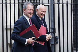 © licensed to London News Pictures. London, UK 29/10/2013. Owen Paterson, Environment Secretary and Iain Duncan Smith, Work & Pensions Secretary attending to a cabinet meeting in Downing Street on Tuesday, 29 October 2013. Photo credit: Tolga Akmen/LNP