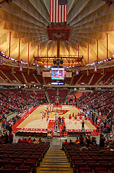 21 November 2015: A high dynamic range composition of Redbird arena while the teams are introduced. Illinois State Redbirds host the Houston Baptist Huskies at Redbird Arena in Normal Illinois (Photo by Alan Look)<br /> <br /> This image was post processed using HDR (high dynamic range) techniques.  It is a composite of 3 separate images.