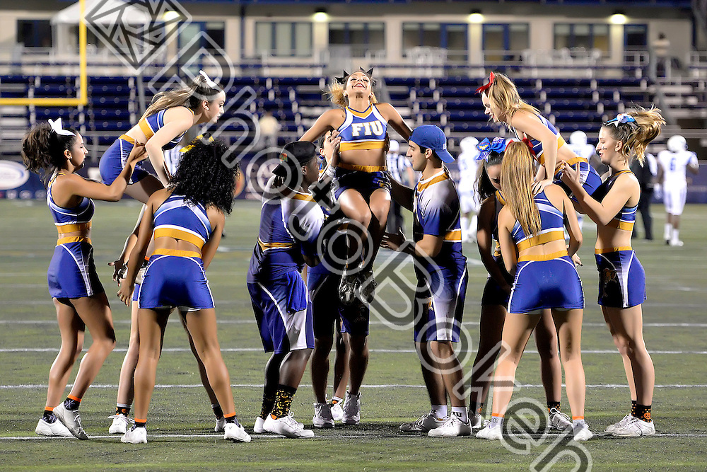 2016 October 29 - FIU Cheerleaders performing at Ocean Bank field, Miami, Florida. (Photo by: Alex J. Hernandez / photobokeh.com) This image is copyright by PhotoBokeh.com and may not be reproduced or retransmitted without express written consent of PhotoBokeh.com. ©2016 PhotoBokeh.com - All Rights Reserved