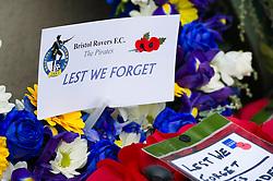 Bristol Rovers wreath is laid at the Memorial gates - Mandatory byline: Dougie Allward/JMP - 07966 386802 - 11/11/2015 - Memorial Stadium - Bristol, England- Memorial Service