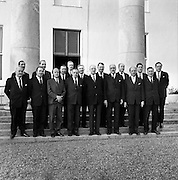President Eamon de Valera receives the new Cabinet at Áras an Uachtarain. L to R (front row: blank, Neill Blaney, Erskine Childers, An Taoiseach Seán Lemass, the President, Frank Aiken, Jack Lynch, Kevin Boland. Back row includes George Colley, Charles Haughey, Patrick Hillery, Brian Lenihan and Donagh O'Malley..21.04.1965