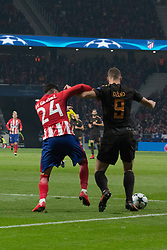 November 22, 2017 - Madrid, Madrid, Spain - Gimenez (L) and Dzeko (R)..during Atletico de Madrid won by 2 to 0 whit goals of Griezmann and Gameiro against Roma. (Credit Image: © Jorge Gonzalez/Pacific Press via ZUMA Wire)