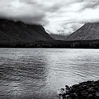 Lake MacDonald, Glacier NP<br /> editted & converted to B&W 11/5/19<br /> Printed 1/1 11/08/2019