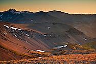 Sunset over the mountain peaks of the High Sierra from Leavitt Pass, Emigrant Wilderness, California