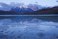 Early light casts a cool light on the peaks in Terres del Paine, Chile