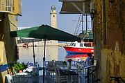 Lighthouse at the Venetian era harbour, Chania, Crete, Greece