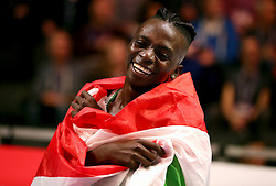 Burundi's Francine Niyonsaba celebrates winning gold in the Women's 800 metres during day four of the 2018 IAAF Indoor World Championships at The Arena Birmingham.