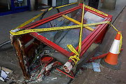 The remains of a demolished phone kiosk after a collision with a vehicle, on 2nd March 2017, in Camberwell, London borough of Southwark, England.
