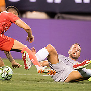 MEADOWLANDS, NEW JERSEY- August 7:  Kevin Strootman #6 of AS Roma challenged by Javi Sánchez #32 of Real Madrid during the Real Madrid vs AS Roma International Champions Cup match at MetLife Stadium on August 7, 2018 in Meadowlands, New Jersey. (Photo by Tim Clayton/Corbis via Getty Images)
