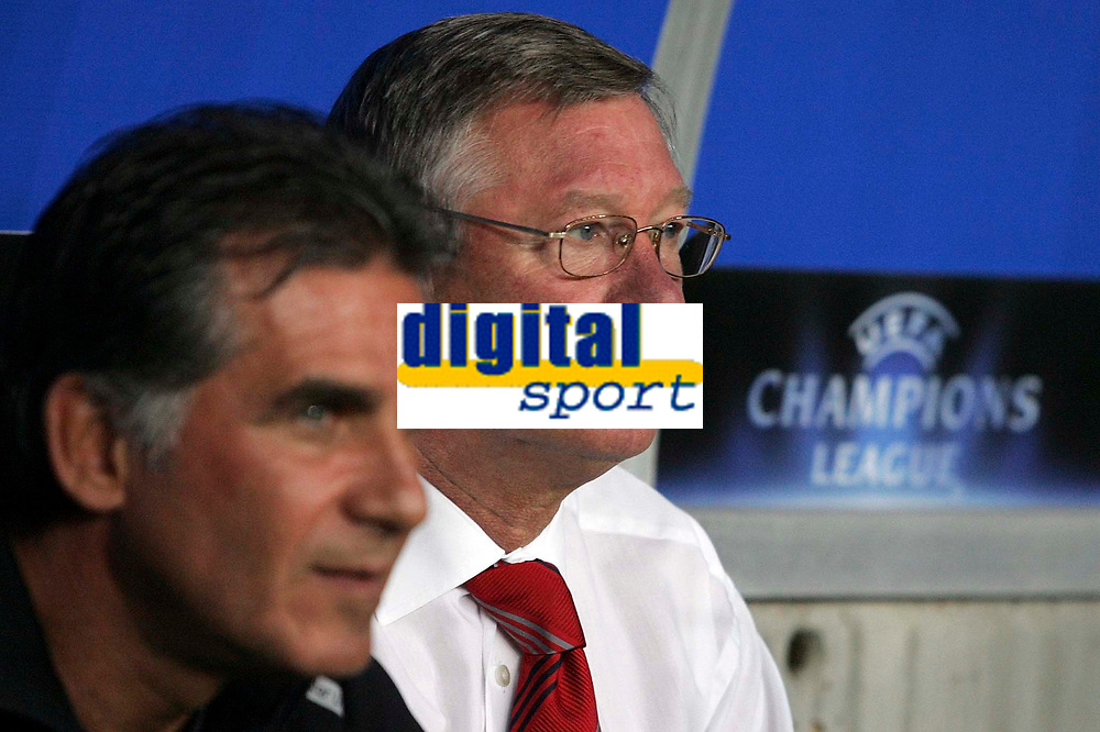 Photo: Paul Thomas.<br /> Sporting Lisbon v Manchester United. UEFA Champions League Group F. 19/09/2007.<br /> <br /> Assistant manager Carlos Queiroz (L) and manager Sir Alex Ferguson of Utd wait for the game to begin.