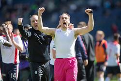 Falkirk's keeper Jamie MacDonald cele at the end.<br /> Hibernian 0 v 1 Falkirk, William Hill Scottish Cup semi-final, played 18/4/2015 at Hamden Park, Glasgow.