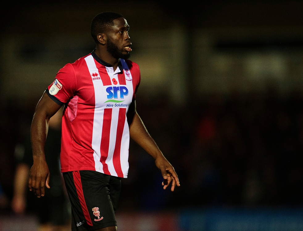 Lincoln City's John Akinde<br /> <br /> Photographer Andrew Vaughan/CameraSport<br /> <br /> The EFL Sky Bet League One - AFC Wimbledon v Lincoln City - Saturday 2nd November 2019 - Kingsmeadow Stadium - London<br /> <br /> World Copyright © 2019 CameraSport. All rights reserved. 43 Linden Ave. Countesthorpe. Leicester. England. LE8 5PG - Tel: +44 (0) 116 277 4147 - admin@camerasport.com - www.camerasport.com