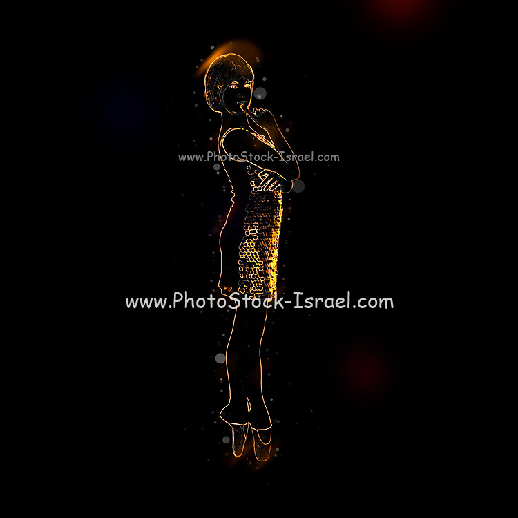 Digitally enhanced image of a Female Contemporary Dancer deep in thought while standing on point
