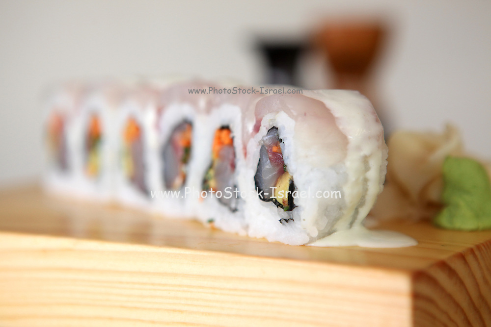 plate of Inside out Tuna Sushi