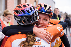 Chantal Blaak celebrates her win with teammate Karol-Ann Canuel - Le Samyn des Dames 2016, a 113km road race from Quaregnon to Dour, on March 2, 2016 in Hainaut, Belgium.