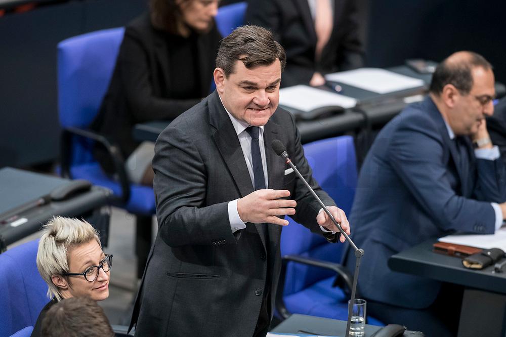 14 FEB 2019, BERLIN/GERMANY:<br /> Markus Weinberg, MdB, CDU, Bundestagsdebatte, Plenum, Deutscher Bundestag<br /> IMAGE: 20190214-01-050<br /> KEYWORDS: Bundestag, Debatte