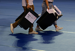 Ballot boxes being brought into be to be counted at the Emirates Arena in Glasgow during the 2017 General Election.