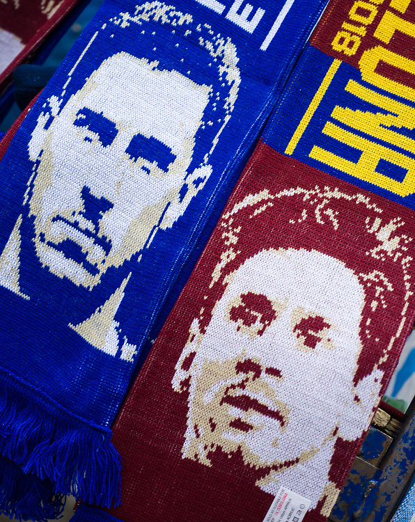 Match day scarves on sale outside Stamford Bridge, home of Chelsea<br /> <br /> Photographer Craig Mercer/CameraSport<br /> <br /> UEFA Champions League Round of 16 1st Leg - Chelsea v Barcelona - Tuesday 20th February 2018 - Stamford Bridge - London<br />  <br /> World Copyright © 2017 CameraSport. All rights reserved. 43 Linden Ave. Countesthorpe. Leicester. England. LE8 5PG - Tel: +44 (0) 116 277 4147 - admin@camerasport.com - www.camerasport.com