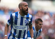 Brighton defender Bruno Saltor shouts instructions during the Sky Bet Championship match between Brighton and Hove Albion and Preston North End at the American Express Community Stadium, Brighton and Hove, England on 24 October 2015. Photo by Bennett Dean.