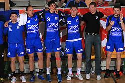 Players of Klima Petek Maribor (Saso Vrecar - 4, Gregor Radovic - 19, Dusko Celica - 3, Andrej Jug -22, Davorin Planinc - 10) celebrate at Men Slovenian Handball Cup, for 3rd place match between RK Klima Petek Maribor and RK Gorenje Velenje, on April 19, 2009, in Arena Bonifika, Koper, Slovenia. Klima Petek Maribor won 31:25 and placed 3rd. (Photo by Vid Ponikvar / Sportida)