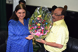 June 19, 2017 - Kolkata, West Bengal, India - Union Minister for Women and Child Development, Maneka Gandhi meets Kolkata Metropolitan Corporation's Mayor,  Sovan Chatterjee. (Credit Image: © Saikat Paul/Pacific Press via ZUMA Wire)