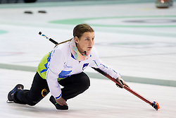 Nika Cerne of Slovenia during curling match between National teams of Slovenia and Lithuania in 6th Round of European Curling Championship on April 29, 2016 in Ledena dvorana Zalog, Ljubljana, Slovenia. Photo By Urban Urbanc / Sportida