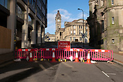 Road closed in the City Centre on the day it was announced that Birmingham would be placed in tier three for very high alert level of the new Coronavirus tier system following the end of the second national lockdown on 26th November 2020 in Birmingham, United Kingdom. The national lockdown and following tier 3 status is a huge blow to the economy and for individual businesses in Britain's second city, who were already struggling after eight months of Covid-19 restrictions. In tier 3 people can only meet other households in outdoor public spaces like parks, where the rule of six applies.
