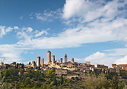 The hilltop, medieval town of San Gimignano, a UNESCO Heritage Site, in Tuscany, Italy
