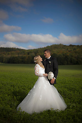 Bride and groom doing romance in field, Ammersee, Upper Bavaria, Bavaria, Germany