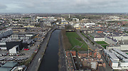 Aerial Photos of Dublin city Centre During Travel Restrictions, 3-4-20, 3rd March 2020, Covid 19, Friday Morning, Rush Hour, showing almost, Empty Streets, as people, curtail all but essential movment, Ireland, and Irish are doing thier best to reduce risk to others, Croppies Acre, Collins Barracked, Huston Station, Dr Stephens Hospital, Phoniex Park, Guinness, liffey Photos, Photo, Snap, Streets, Street,