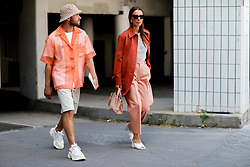 Street style, JS Roques and Alice Barbier (jaimetoutcheztoi) arriving at Acne Spring-Summer 2019 menswear show held at Bercy Popb, in Paris, France, on June 20th, 2018. Photo by Marie-Paola Bertrand-Hillion/ABACAPRESS.COM