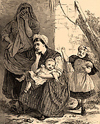 The Cost of Coal': A miner's wife and a female companion mourning the loss of her husband while the two children play happily, oblivious of the tragedy.  Illustration by Charles Oliver Murray (1842-1924) from 'The Quiver' (London, 1876).