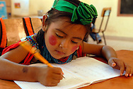 A young Bolivian girl at her studies.
