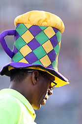 11 July 2012:  A slushy drink vendor wears a colorful hat to draw attention to himself and his wares during the Frontier League All Star Baseball game at Corn Crib Stadium on the campus of Heartland Community College in Normal Illinois